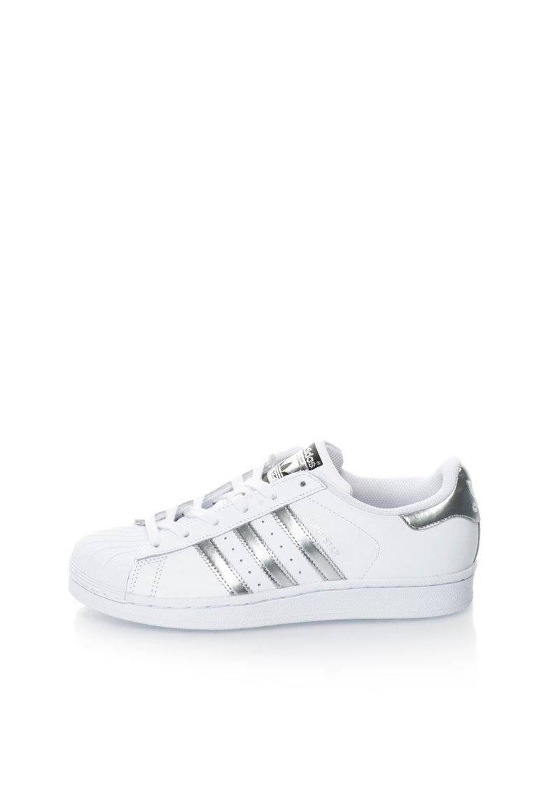 adidas Originals Pantofi sport alb cu argintiu Superstar