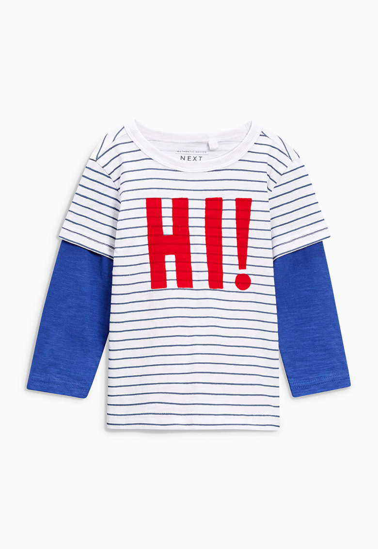 NEXT Bluza alb cu albastru cu aspect 2in1