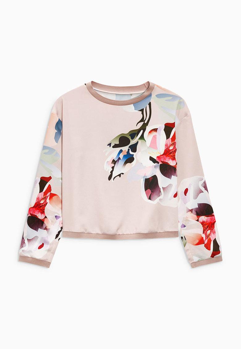 NEXT Bluza sport roz pastel cu imprimeu floral