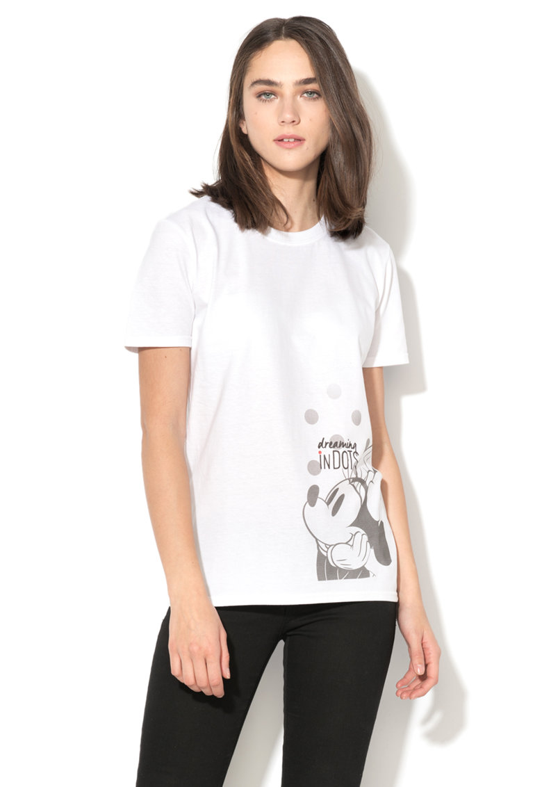Disney Tricou alb cu imprimeu gri Minnie