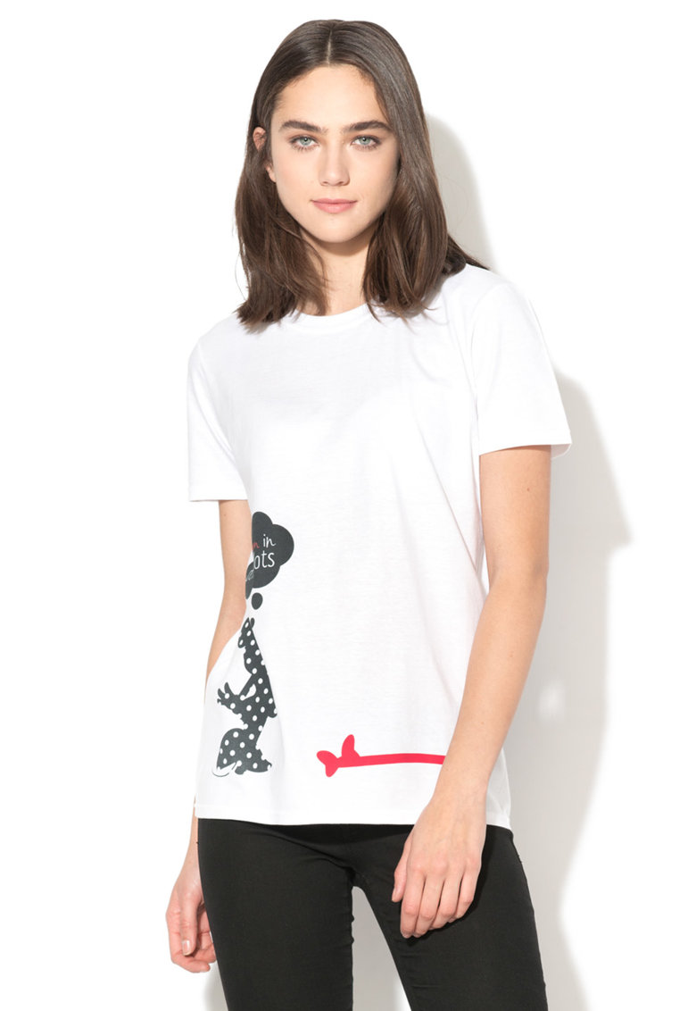 Tricou alb cu imprimeu negru pe ambele parti Minnie de la Disney