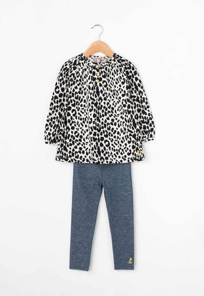 Juicy Couture Bluza cu animal print si colanti albastri cu aspect de denim