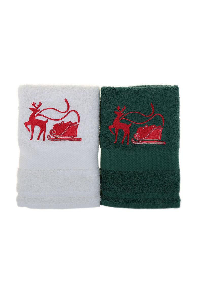 Leunelle Set de prosoape alb cu verde si broderie tematica – 2 piese