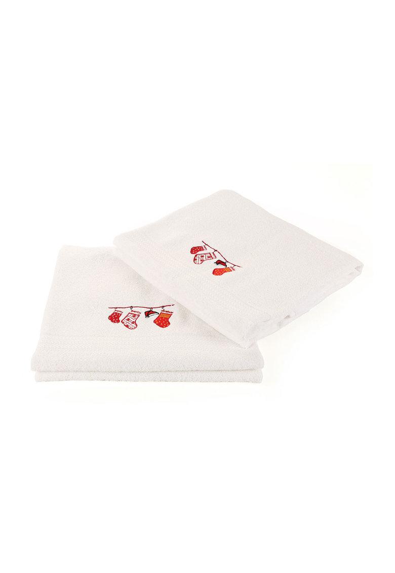 Leunelle Set de prosoape albe cu broderie tematica – 2 piese