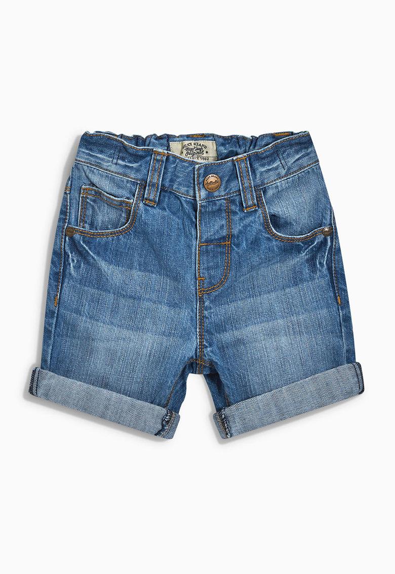 Pantaloni scurti albastri din denim cu mansete pliabile