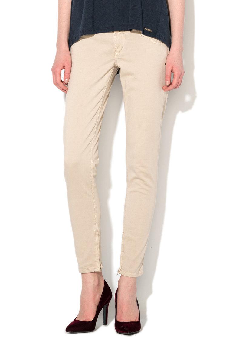 GUESS JEANS Pantaloni skinny cu talie foarte joasa bej inchis