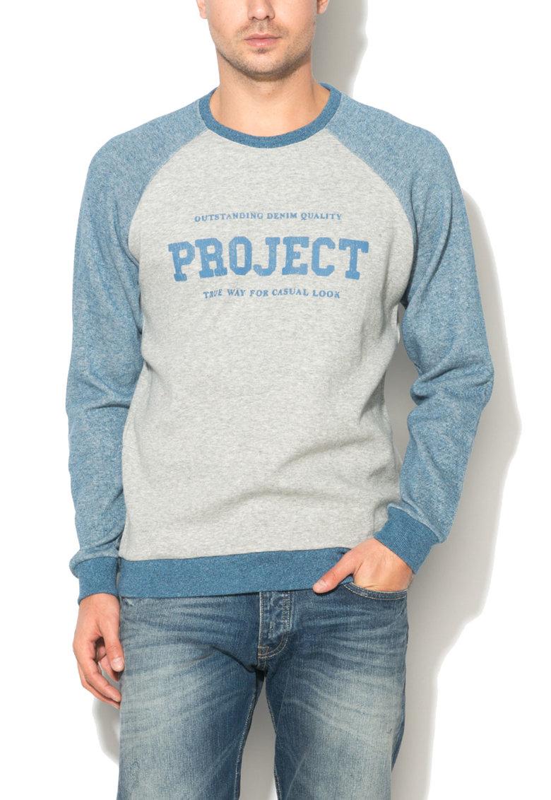 Bluza sport gri deschis cu albastru si imprimeu text Gieran de la Big Star