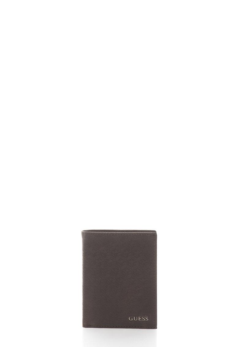 GUESS Portofel pliabil maro de piele cu model logo
