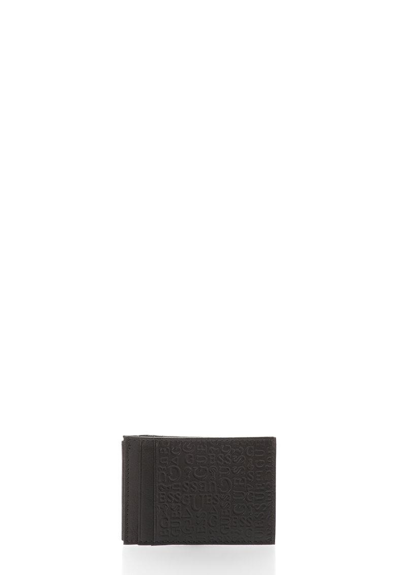 GUESS Portcart maro inchis de piele cu model logo