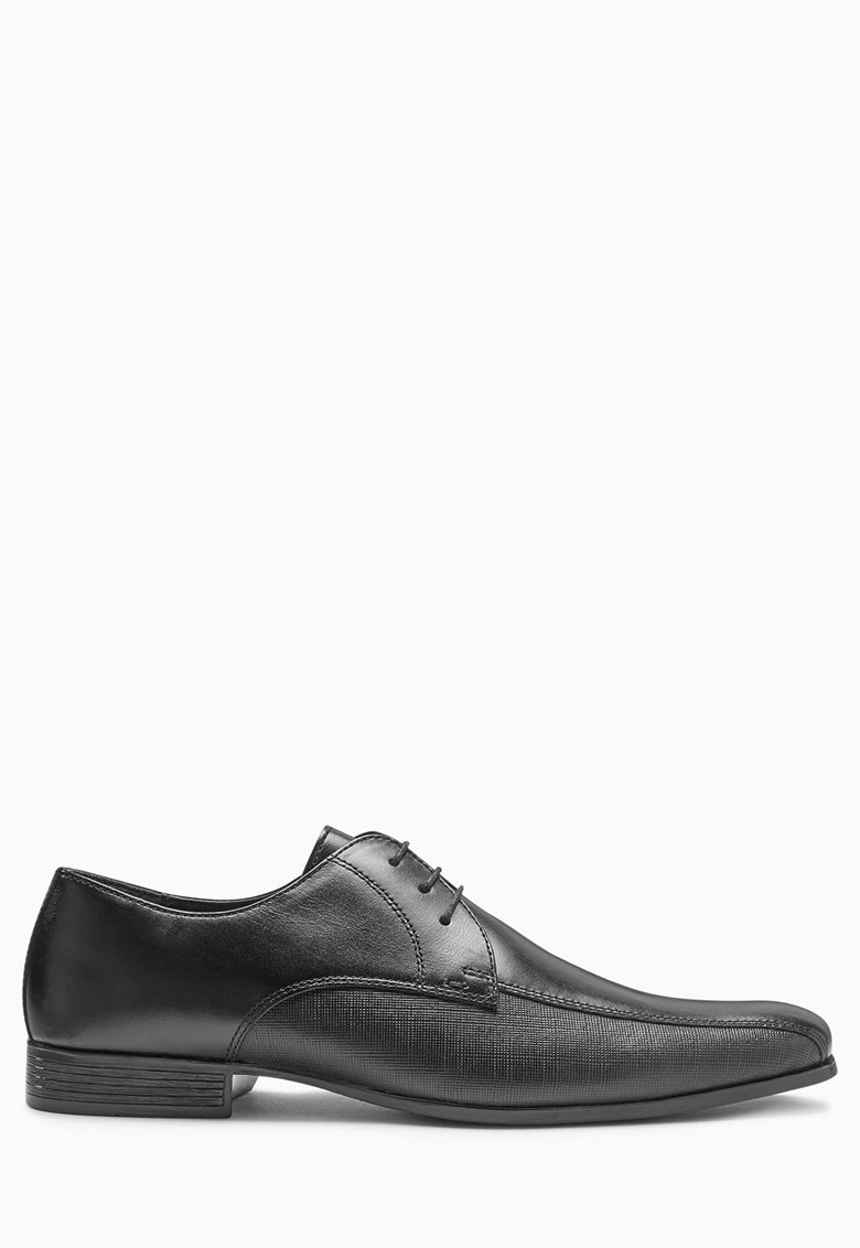 NEXT Pantofi negri de piele cu segment lateral texturat