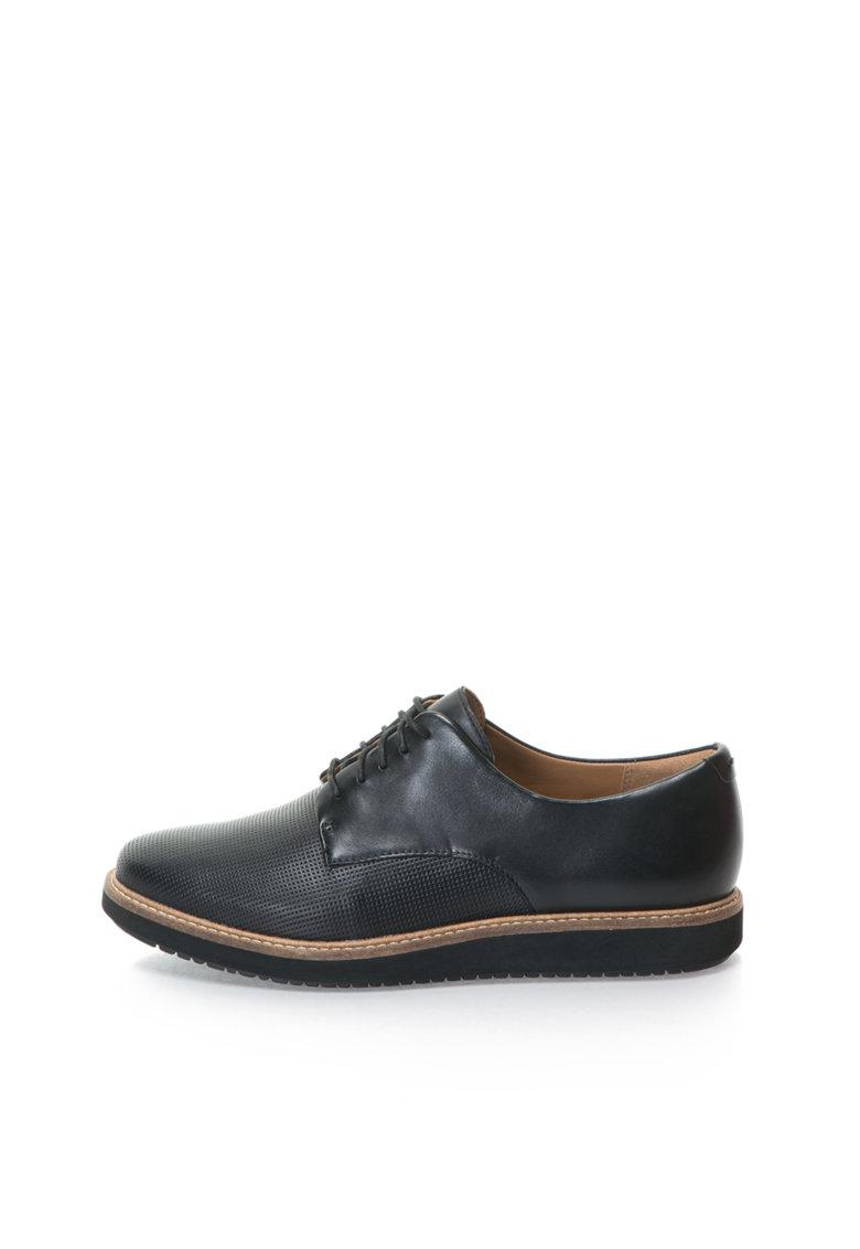 Clarks Pantofi negri de piele cu talpa wedge Glick Darby