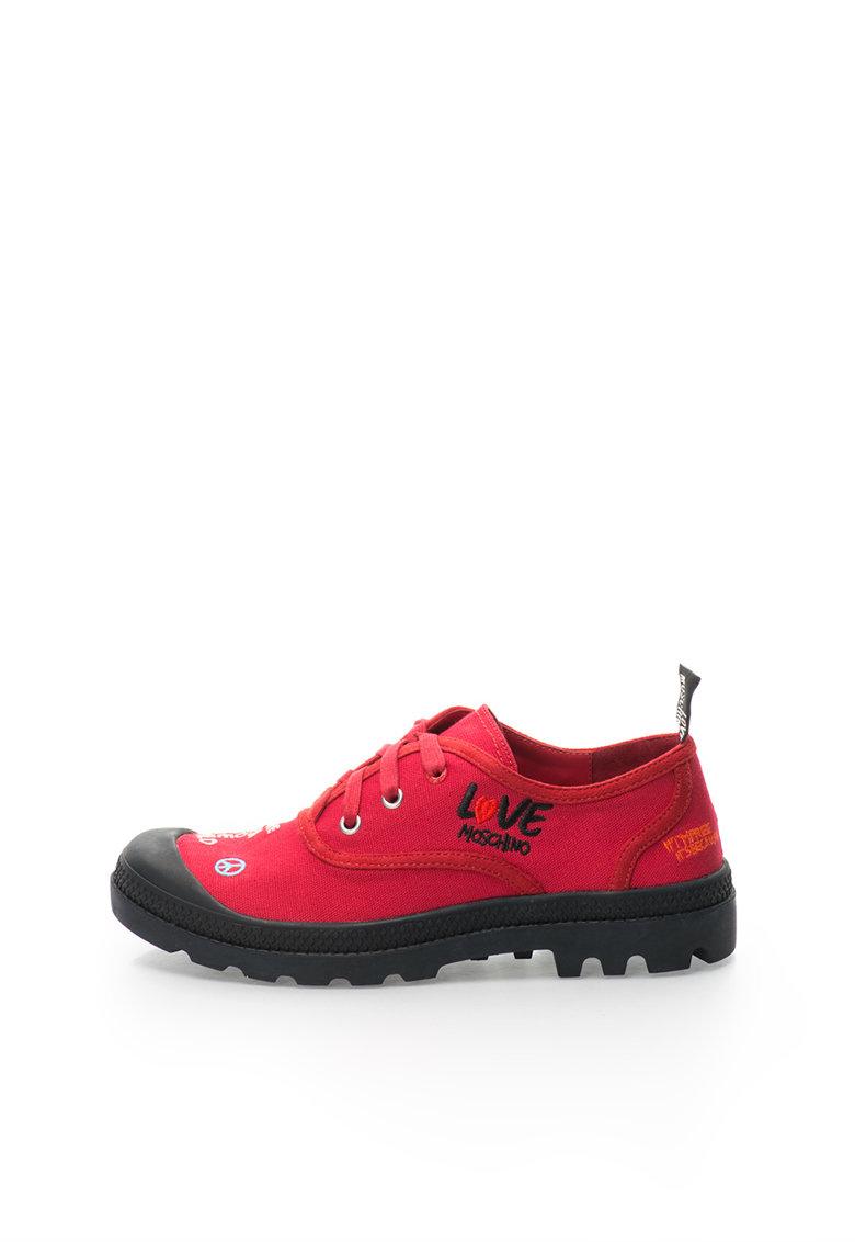 Love Moschino Pantofi rosii din panza cu broderie