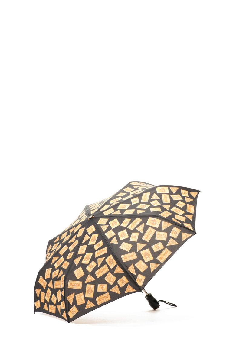 Moschino Umbrela neagra cu imprimeu auriu