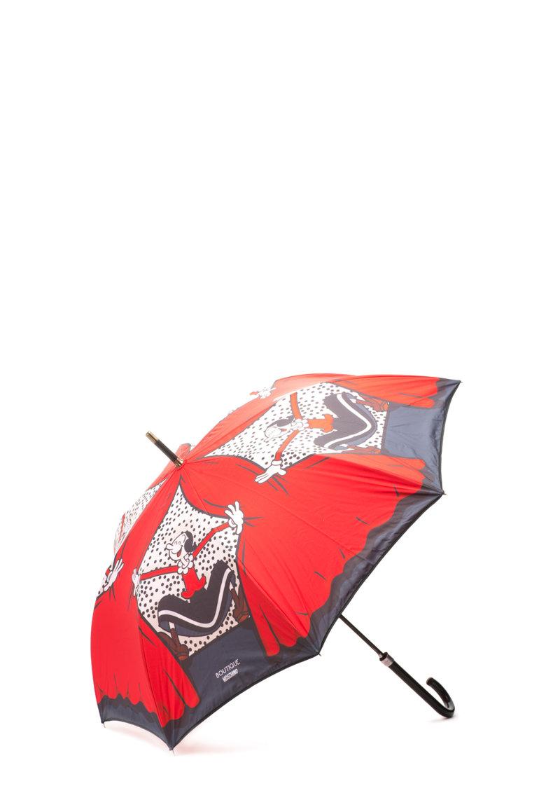 Umbrela rosu cu gri inchis