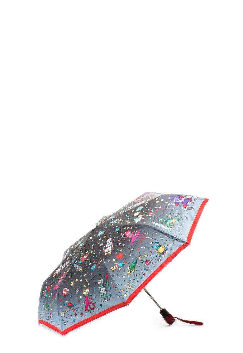 Moschino Umbrela negru cu gri in degrade si cu imprimeu