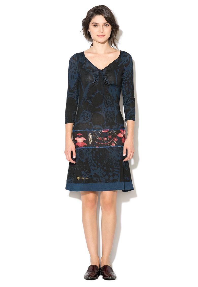 Rochie albastru cu negru cu imprimeu grafic Sloan