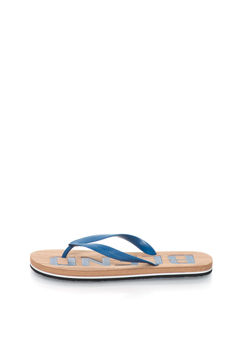 BLEND Papuci flip-flop bleumarin cu talpa cu aspect de lemn