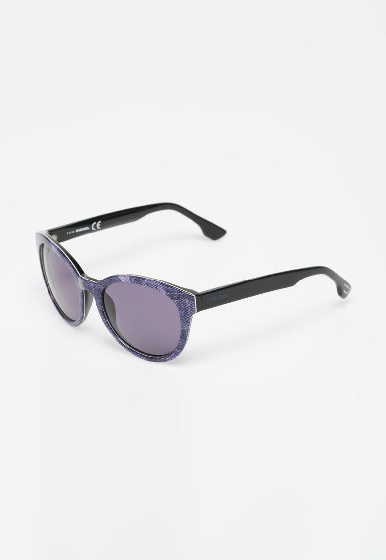 Ochelari de soare negri cu violet si imprimeu tip denim de la Diesel