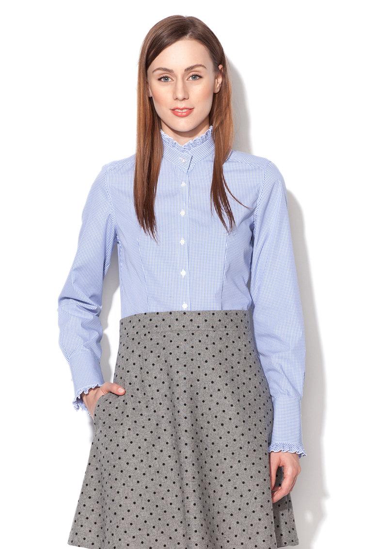 Camasa modern fit albastra cu alb in patratele