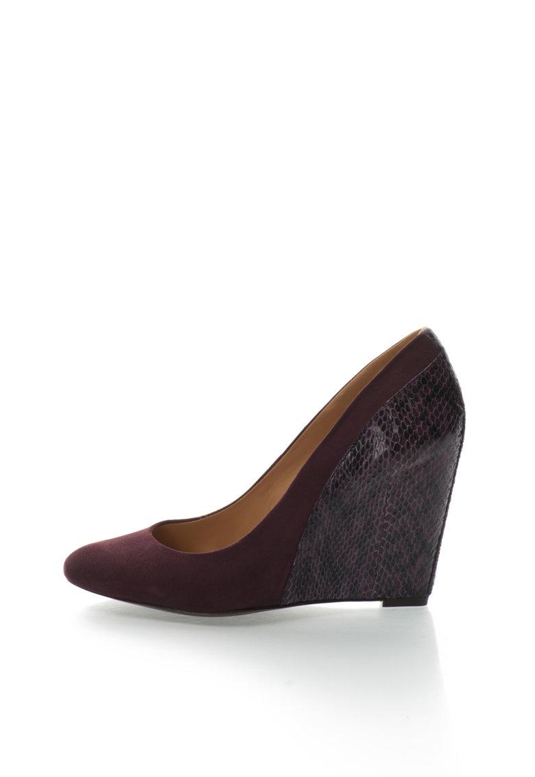 Pantofi wedge violet pruna din piele Cooper