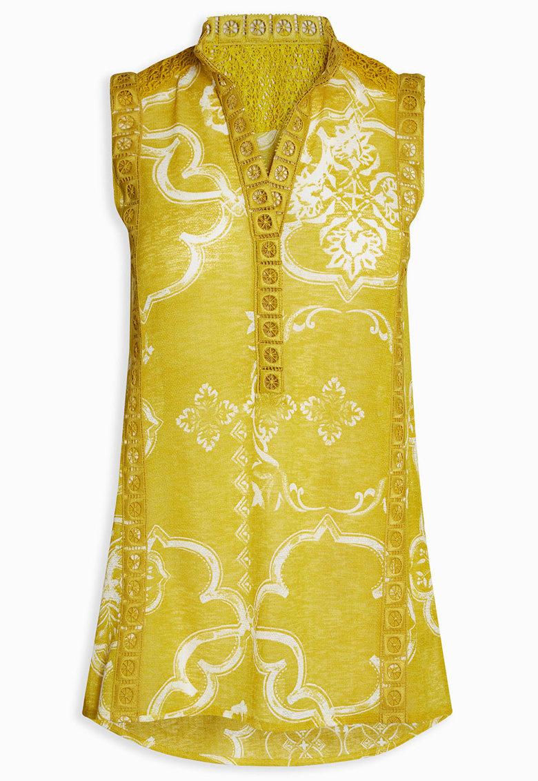 Tunica galben citrine fara maneci cu model oriental