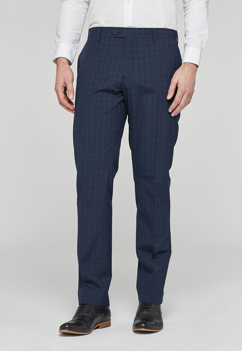 NEXT Pantaloni bleumarin slim fit cu model in carouri