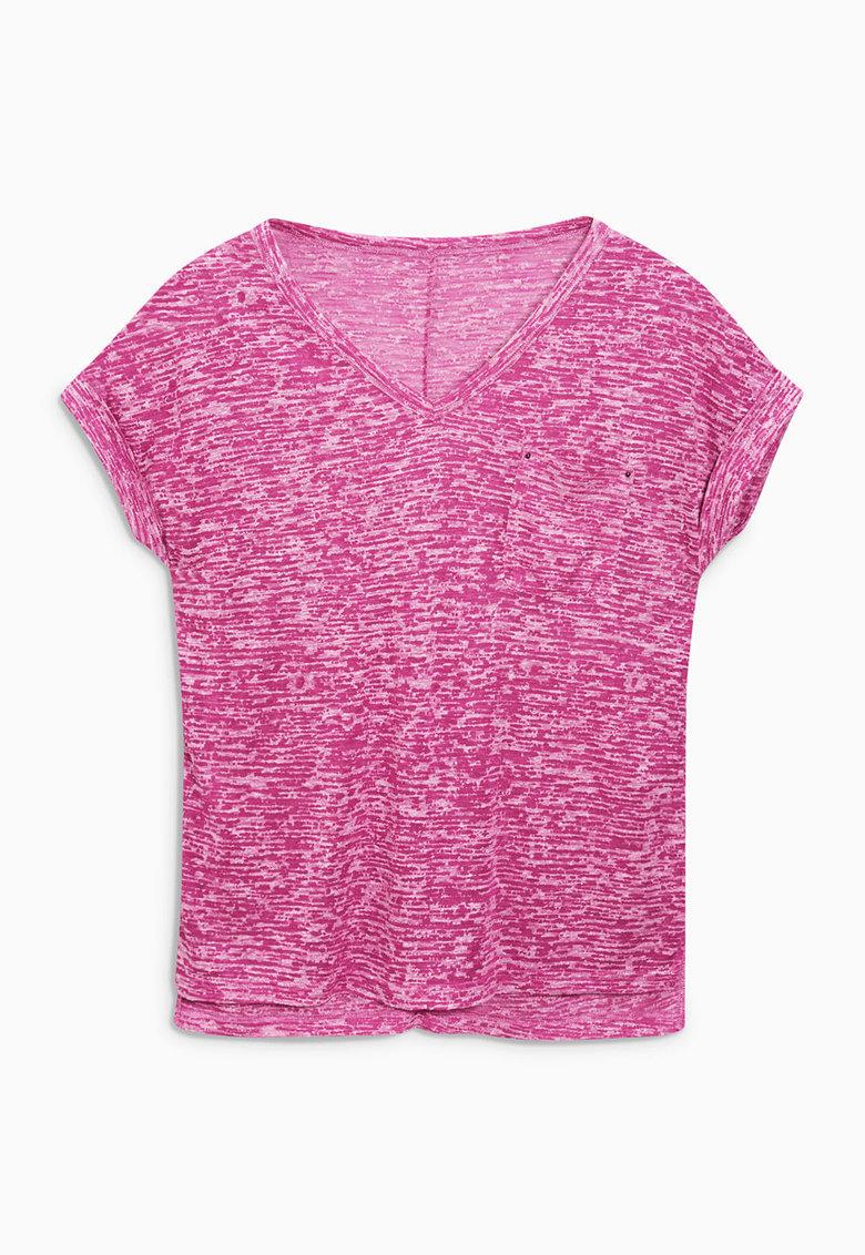 NEXT Tricou roz melange cu buzunar aplicat