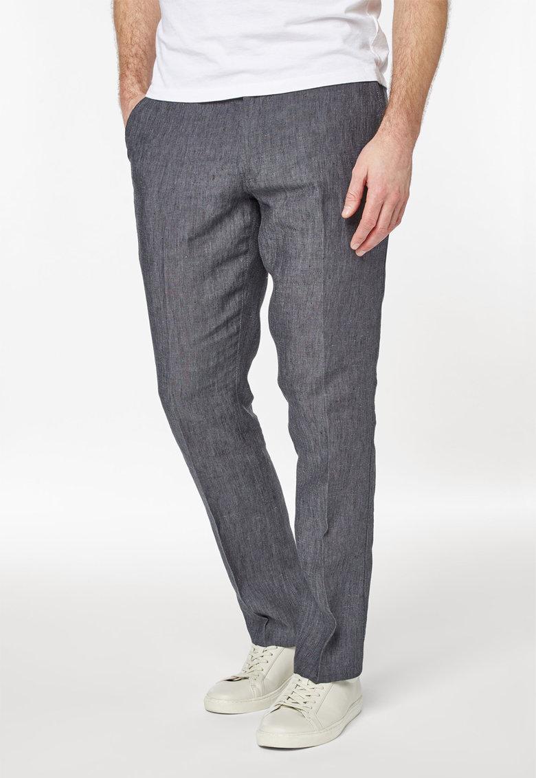 Pantaloni gri melange din in