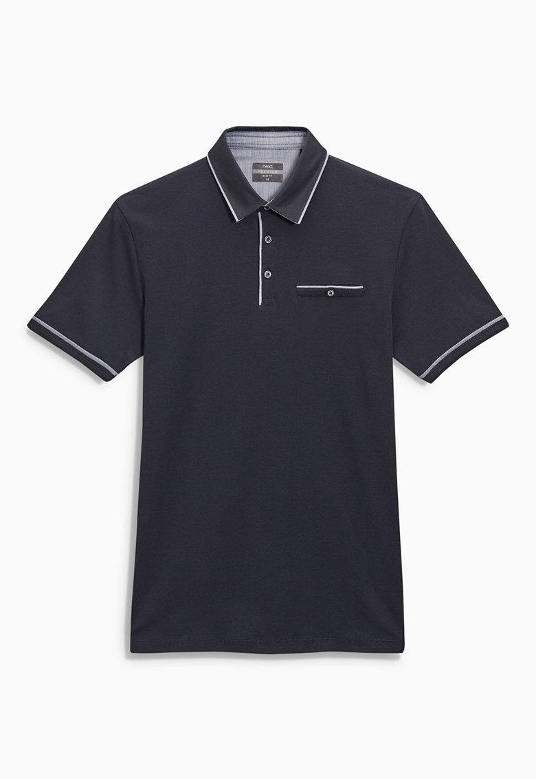 NEXT Tricou polo slim fit bleumarin cu accente albe