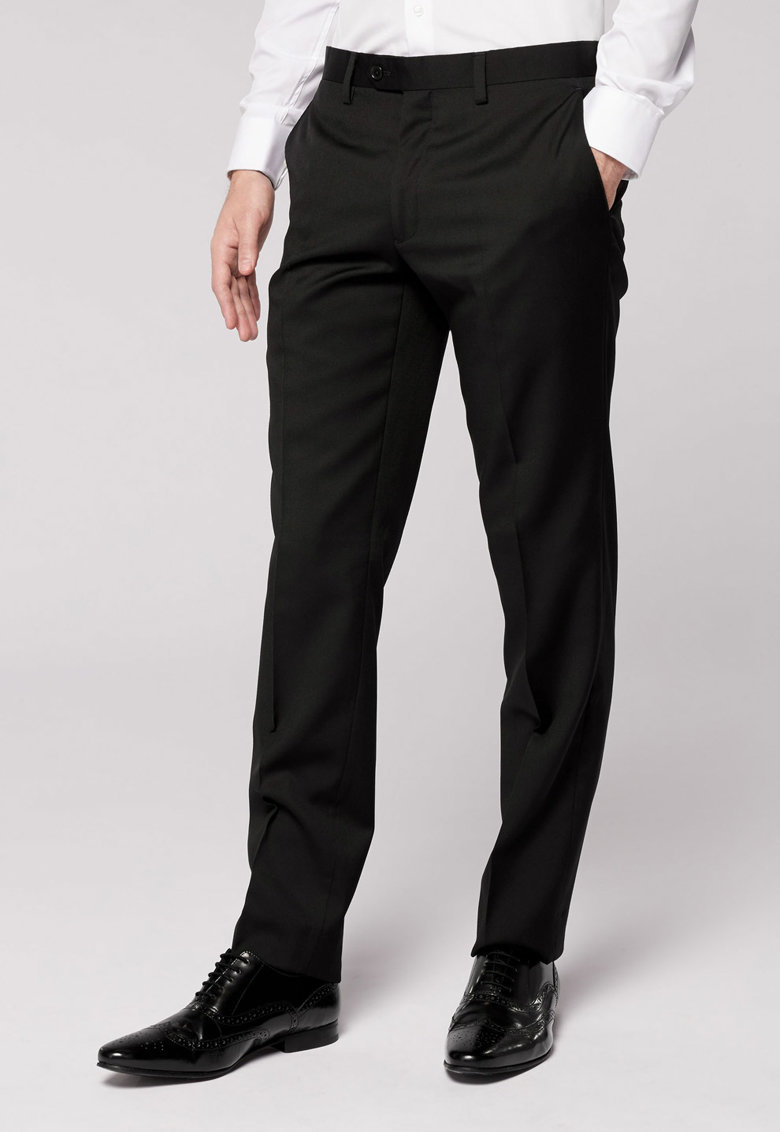 NEXT Pantaloni tailored fit negri de lana
