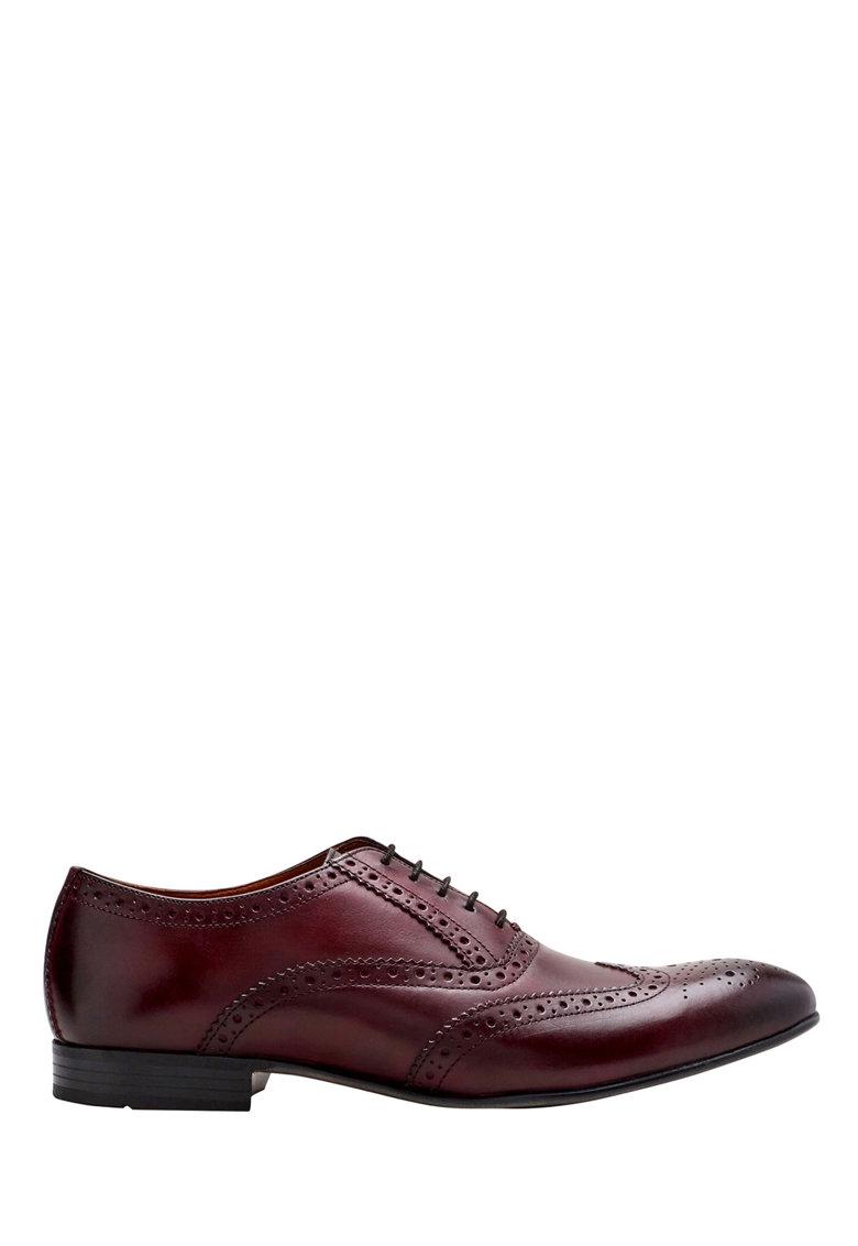 Pantofi brogue rosu Bordeaux de piele de la NEXT