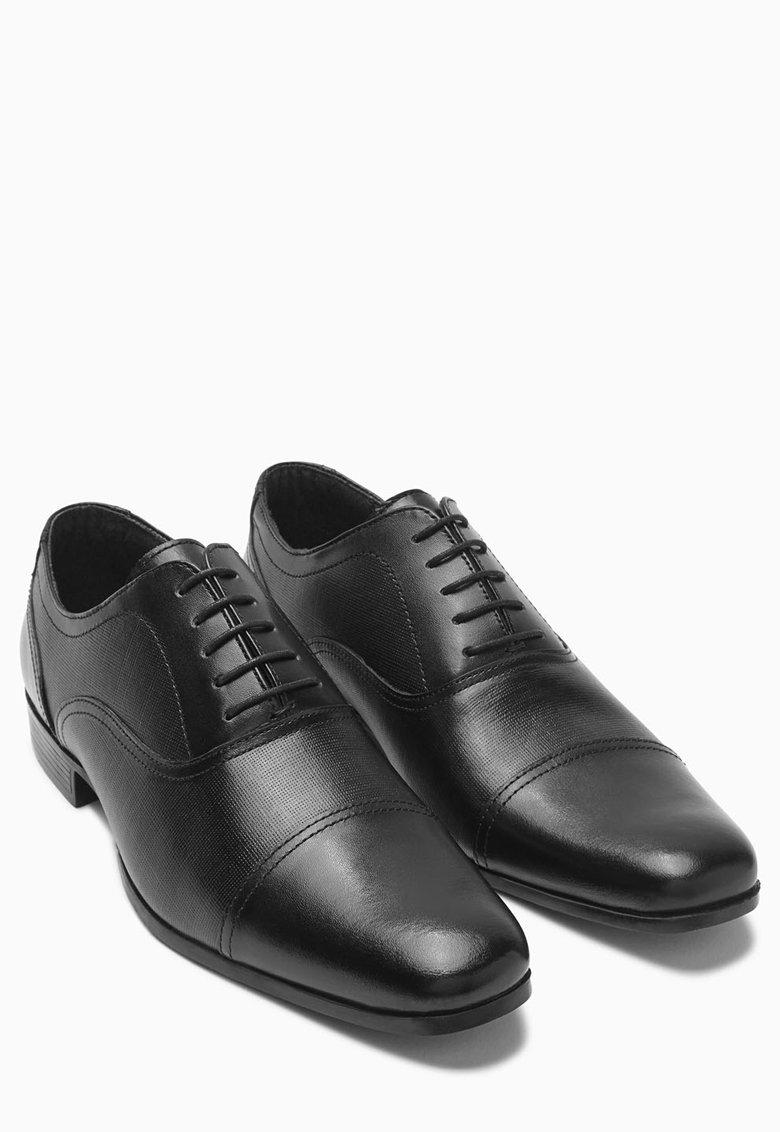 NEXT Pantofi Oxford negri de piele texturata