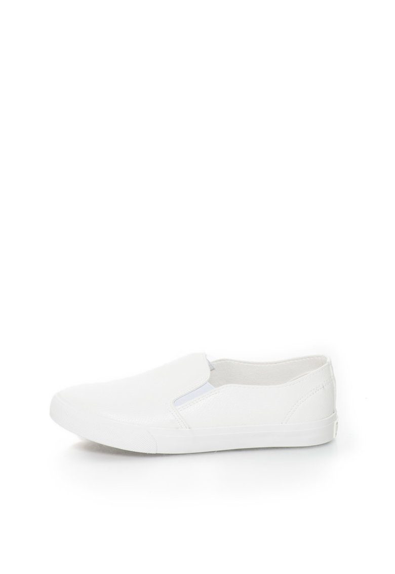 Pantofi slip-on albi de piele sintetica