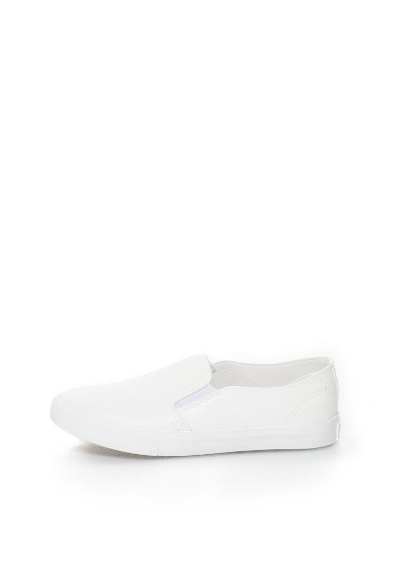 Big Star Pantofi slip-on albi de piele sintetica