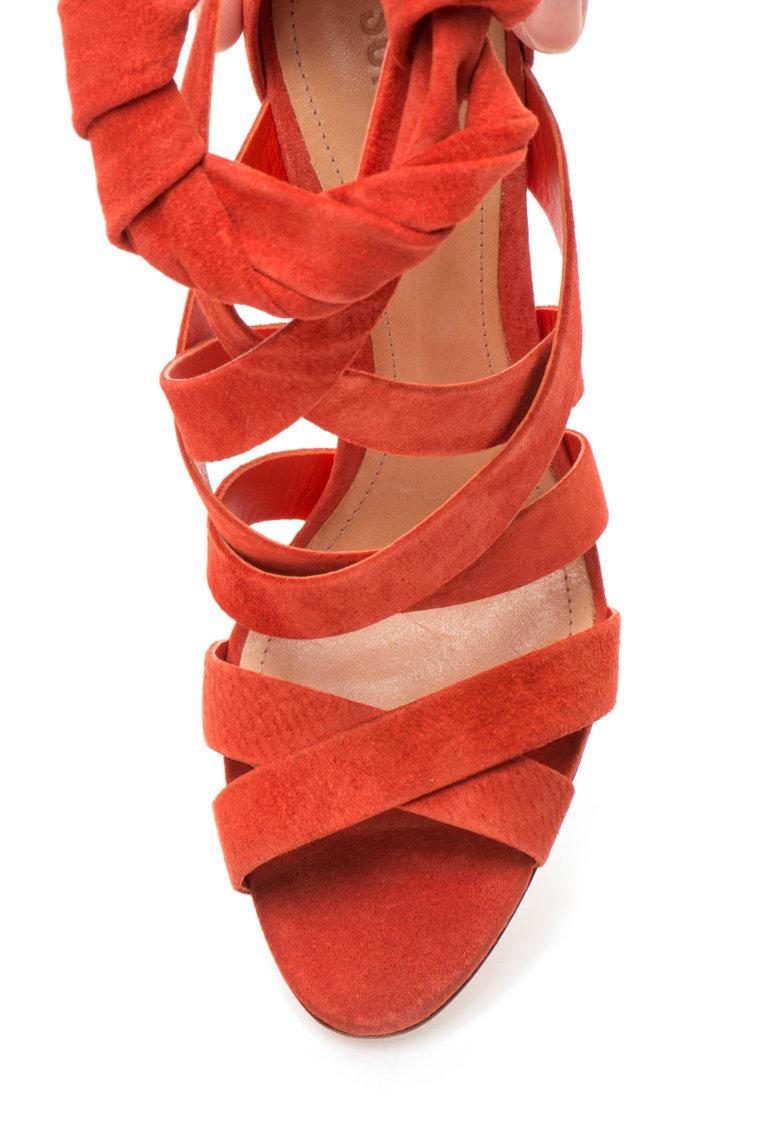Schutz Sandale oranj mandarina de piele intoarsa cu barete multiple