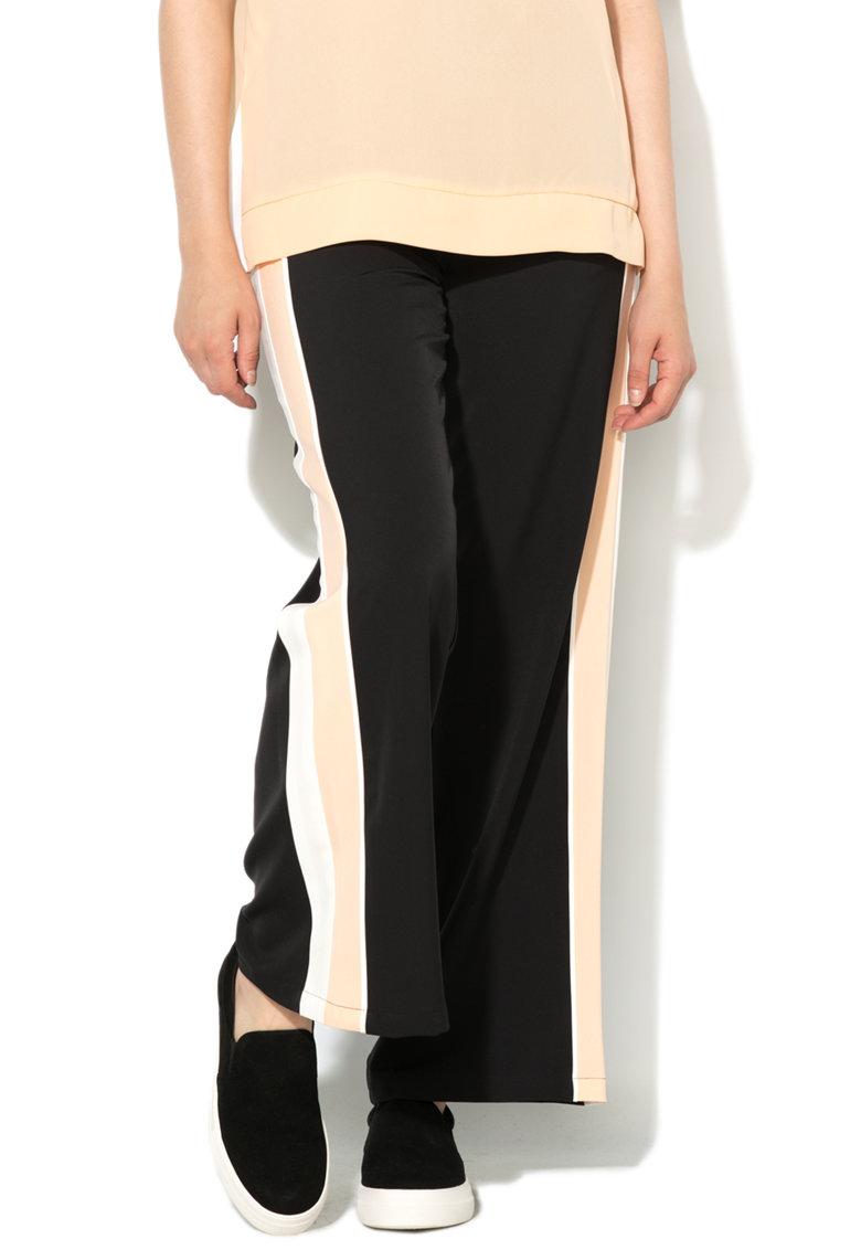 United Colors Of Benetton Pantaloni negri cu croiala ampla si segmente contrastante