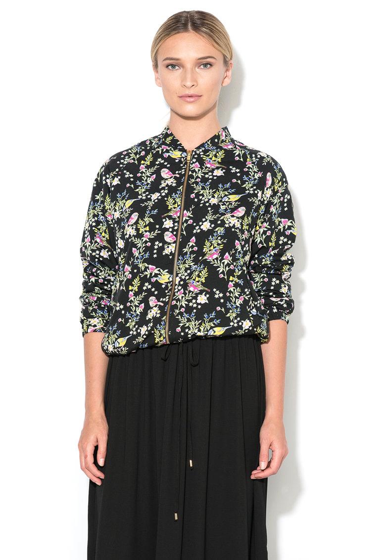 Yumi Jacheta bomber neagra cu imprimeu floral