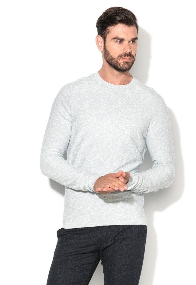 Pulover bleu melange tricotat fin Ki