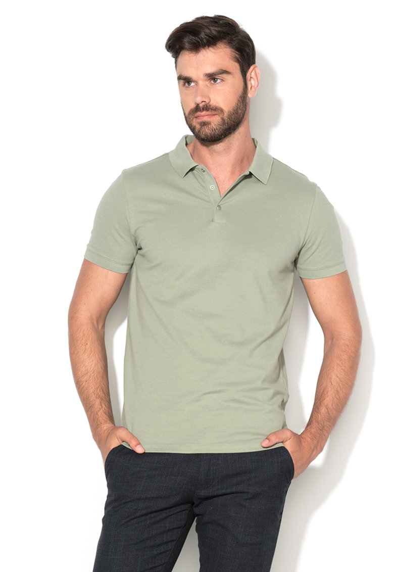 Tricou polo verde oliv deschis din pique Damon Selected Homme