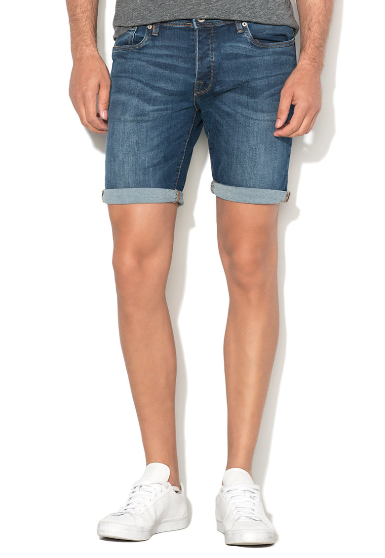 Pantaloni scurti albastru inchis regular fit din denim Alex Selected Homme