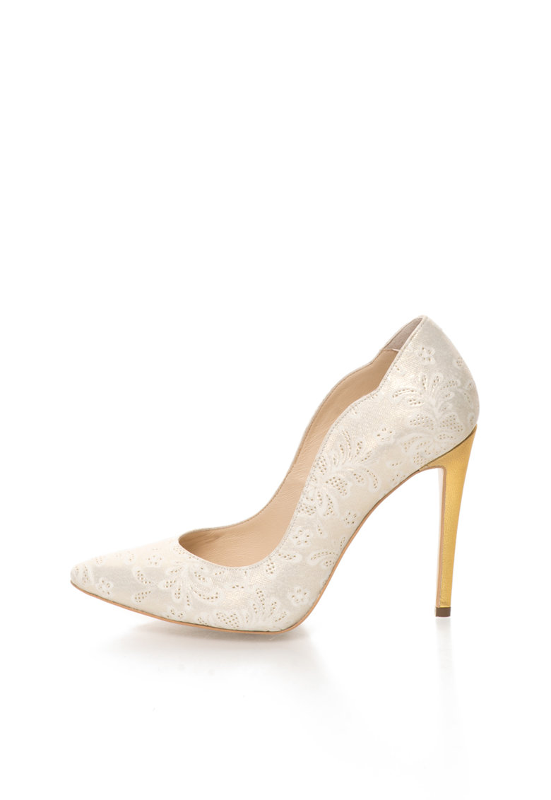 CONDUR by alexandru Pantofi stiletto alb cu auriu de piele