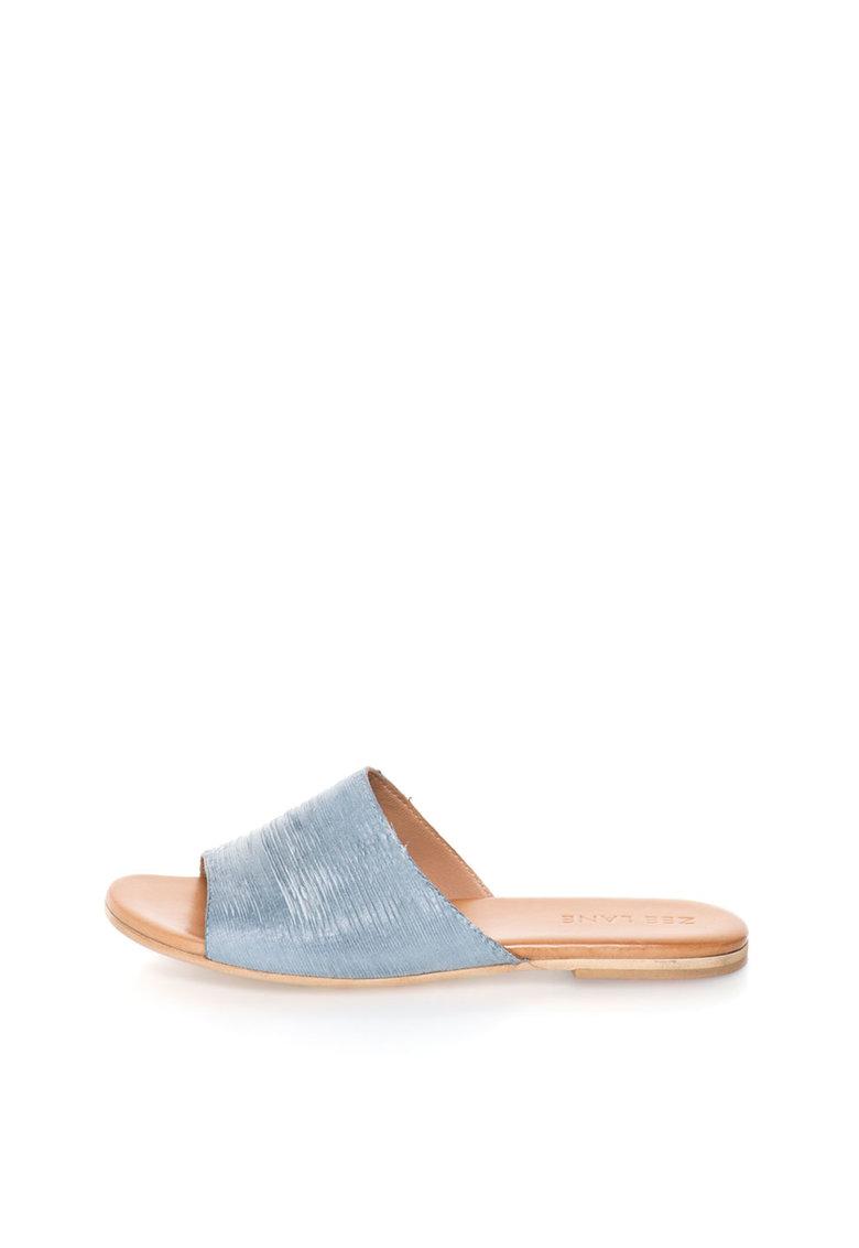 Zee Lane Papuci albastru azur texturati de piele