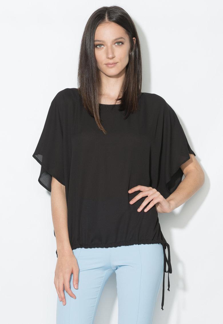 Zee Lane Collection Bluza neagra cu snur in talie