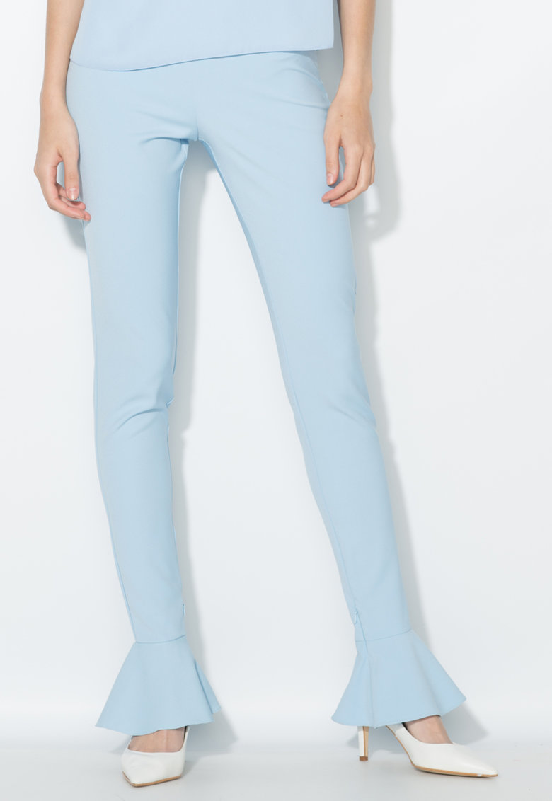 Zee Lane Collection Pantaloni bleu cu terminatii cu volane