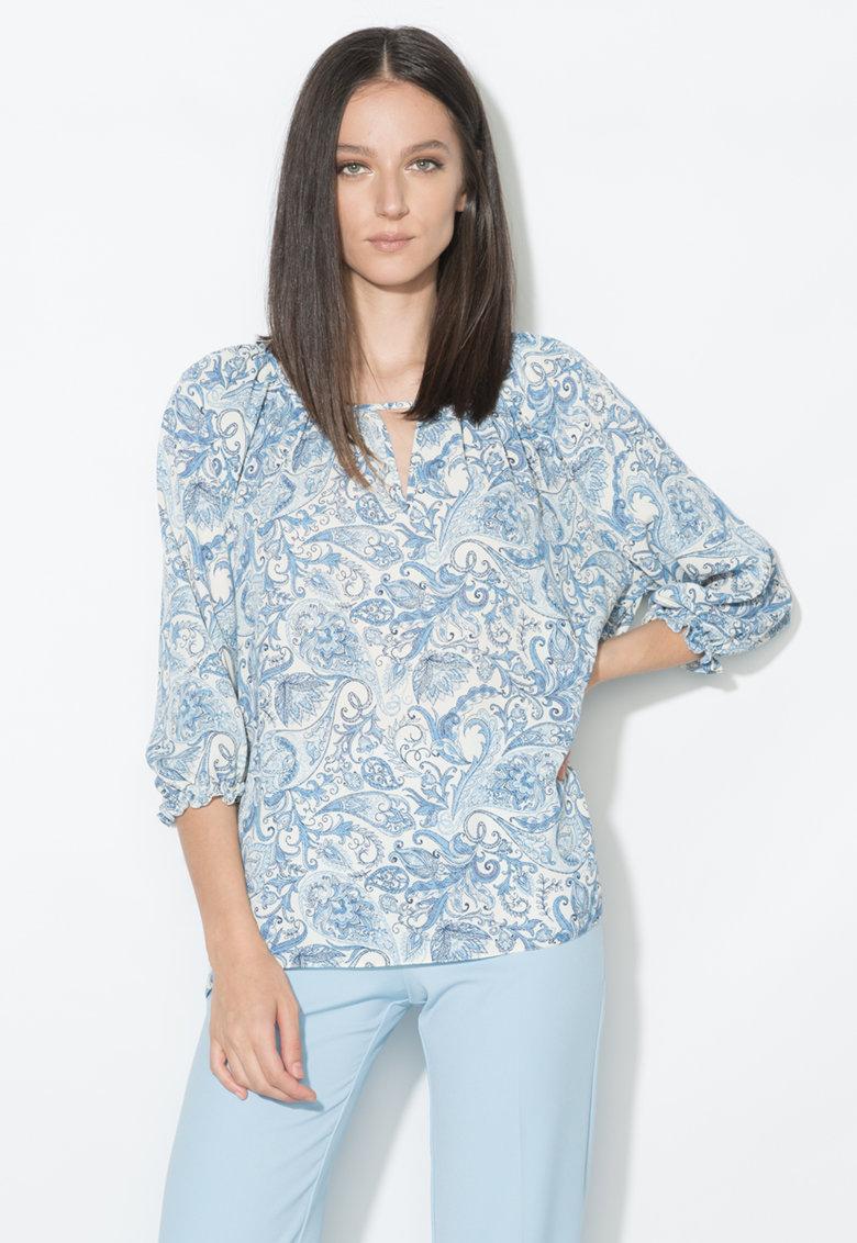 Bluza alb si albastru cu model floral