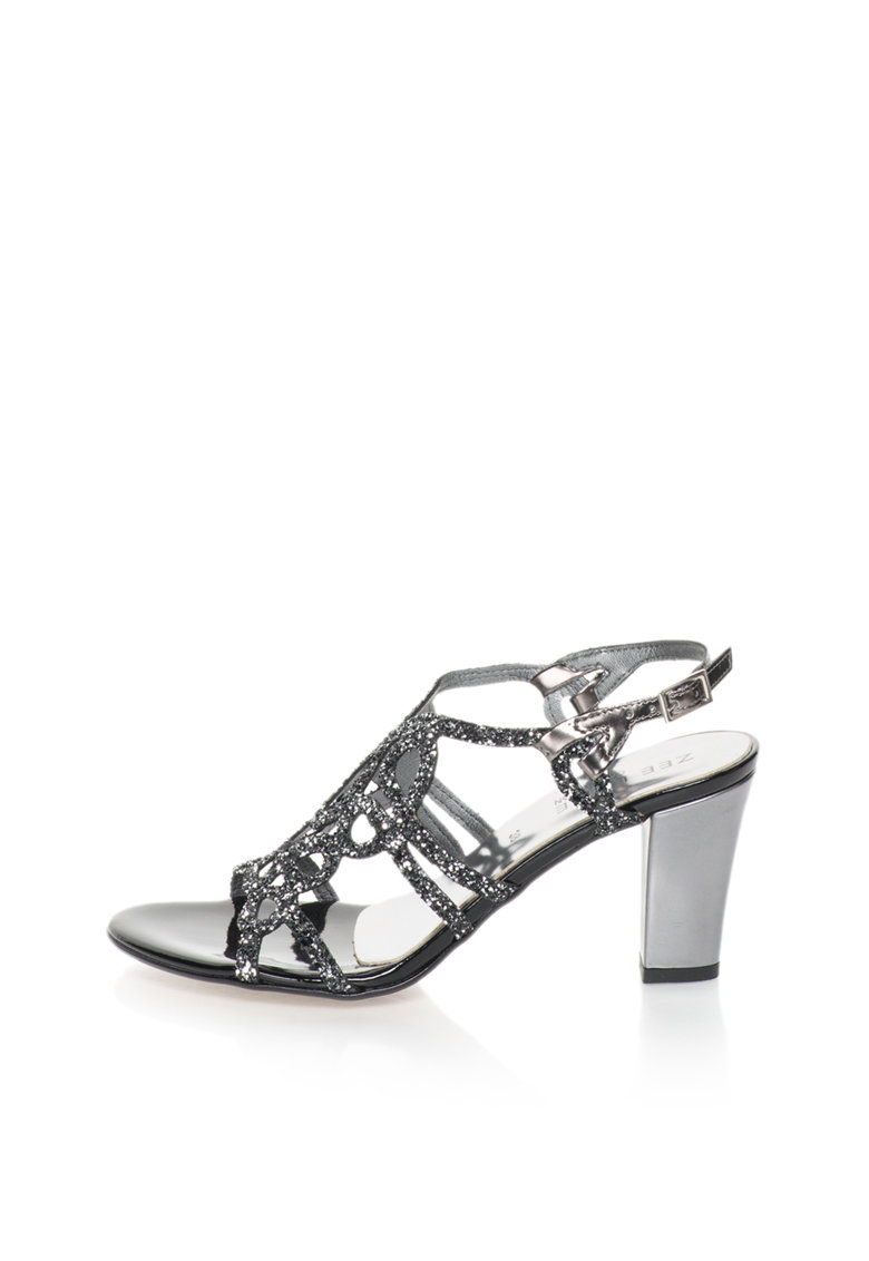 Zee Lane Collection Sandale negru cu gri hematit stralucitoare