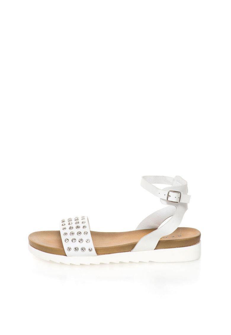 Sandale albe cu strasuri Carima