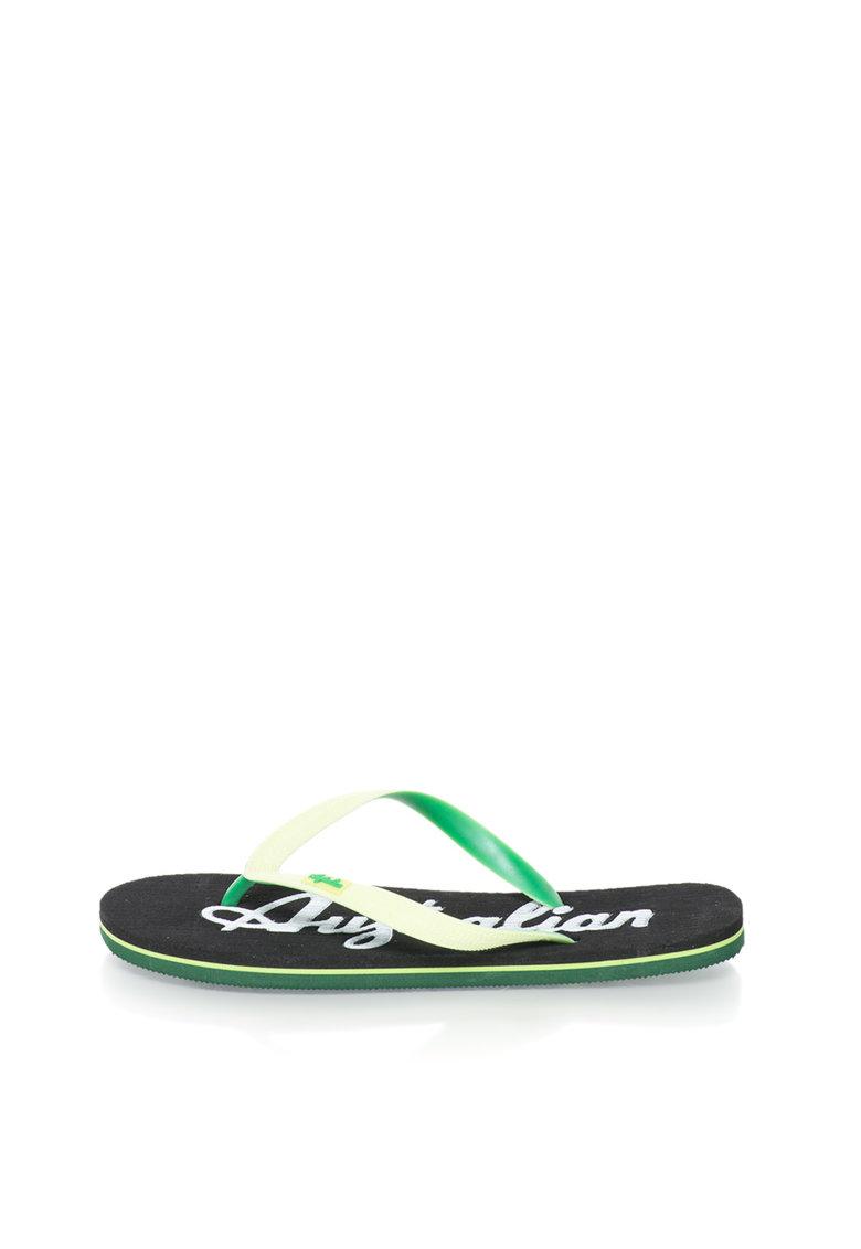 Papuci flip-flop verde si negru cu logo