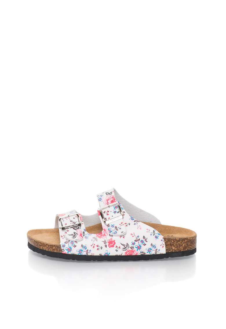 Australian Papuci alb si roz cu bareta dubla si model floral