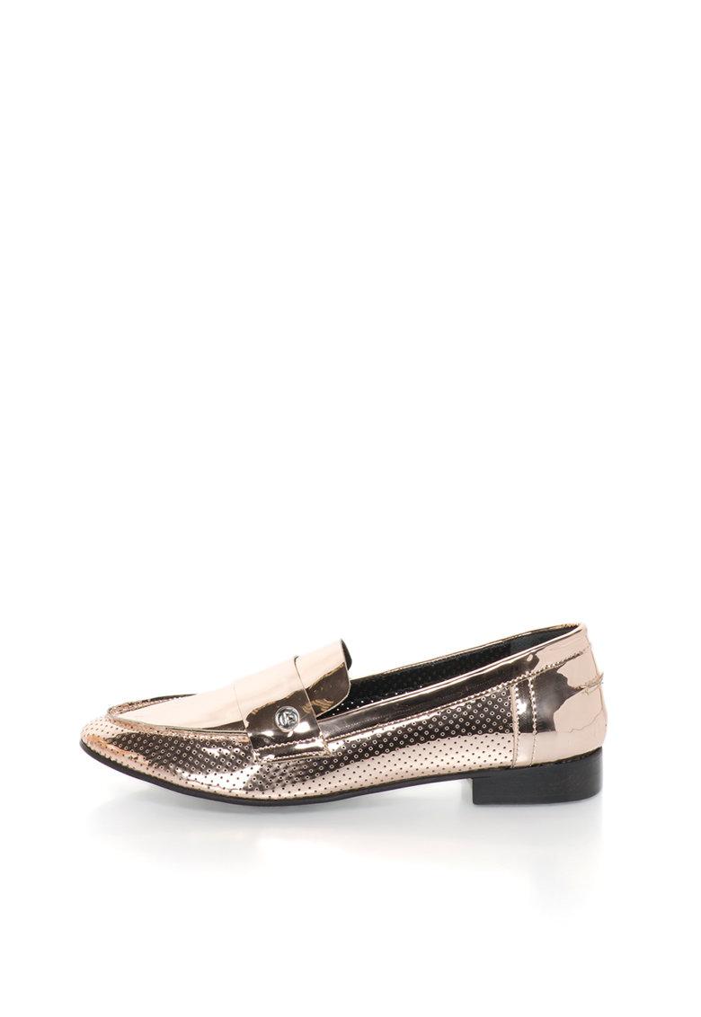 John Galliano Pantofi loafer auriu rose lacuiti